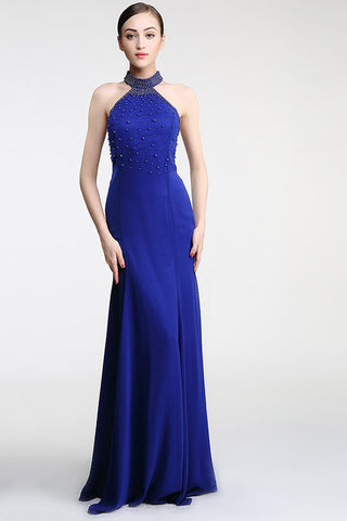 Halter Sheath Royal Blue Mermaid Long Prom Dresses ED0843