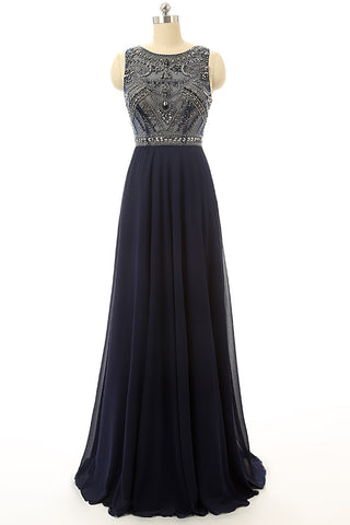 Cheap Prom Dress Navy Blue Beaded Long Graduation Dresses ED0849