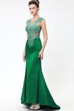Green Lace Beaded See Through Mermaid Sexy Prom Dresses ED0850