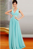Deep V-neck Simple Chiffon Long Open Back Prom Dresses ED0853
