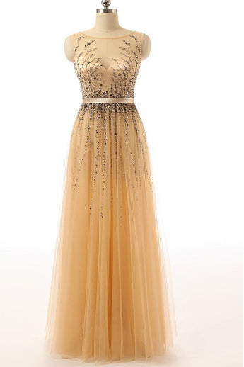 Beaded Gold Long Cap Sleeves Modest Prom Party Dresses ED0855