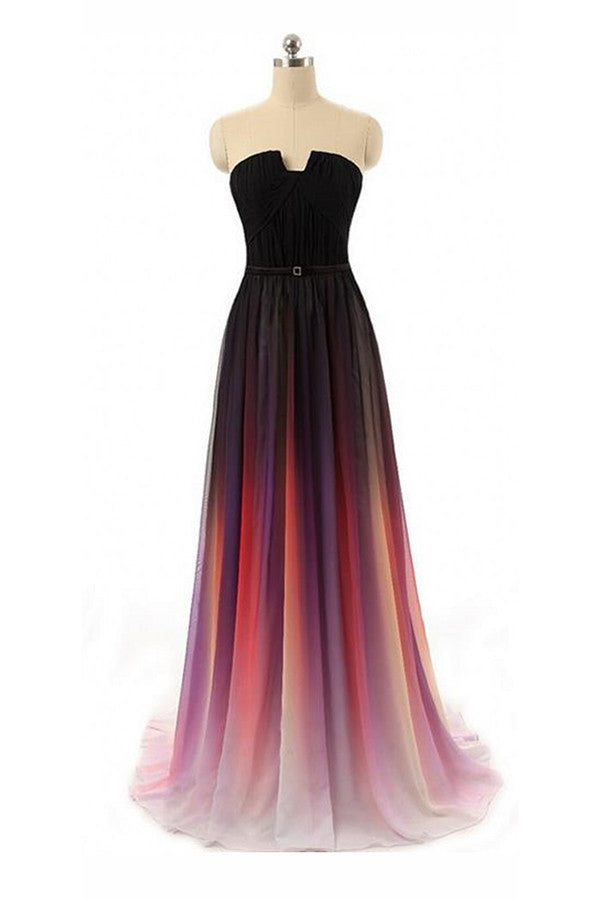 Black Navy Blue Ombre Chiffon U Neck Long Prom Dresses