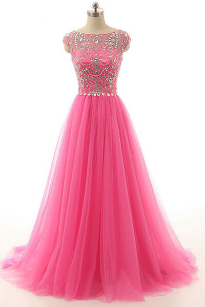 Hot Pink Beaded Long Zipper Modest Evening Prom Dresses ED0958
