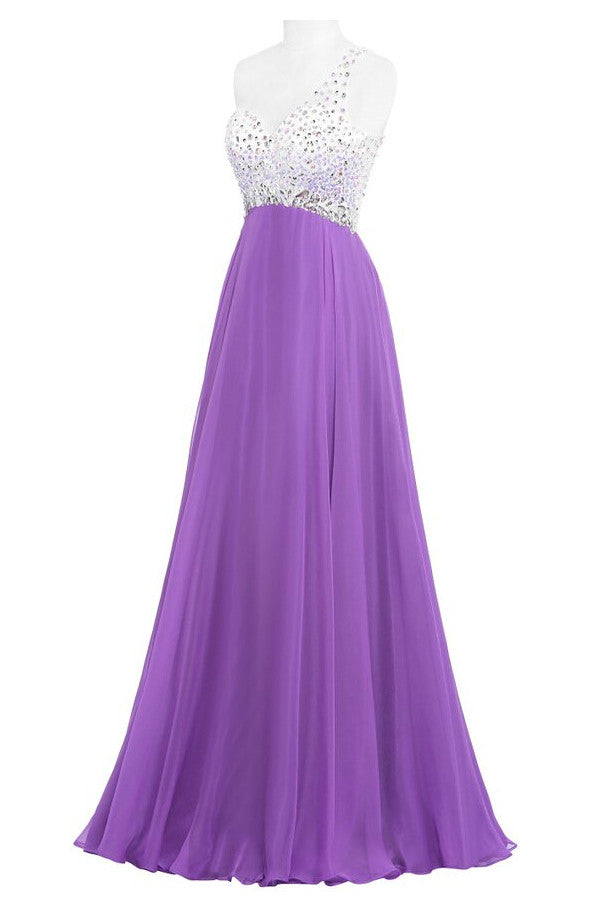 Purple One Shoulder Beaded Long Prom Dresses ED0964