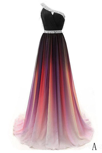 Cheap One Shoulder Ombre Beaded Long Evening Prom Dresses OKK38