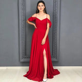 A Line Red Chiffon Prom Dresses Long Sexy Split Evening Party Gowns For Women OKW35