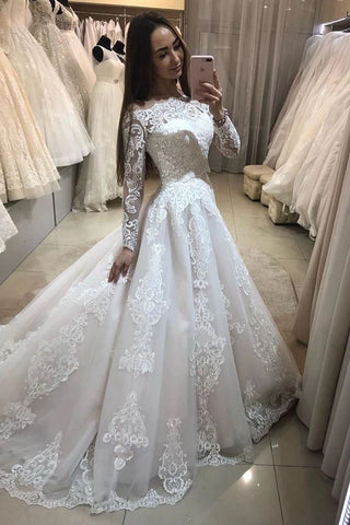 Gorgeous Lace Applique Wedding Dresses Boat Neck Long Sleeve Chapel Train A-Line Bridal Dress OKW24