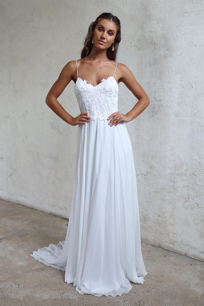 Beautiful A Line Lace Long White Spaghetti Straps Beach/Coast Wedding Dress OK270