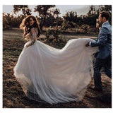 Graceful A Line Ivory Long Sleeves Tulle Appliques Lace Wedding Dress OKV32