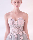 Grey Long Applique Tulle Evening Dress Sweetheart Formal Prom Dress OK874