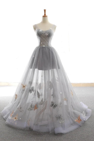 Grey Sweet Star Maxi Tulle A Line Lace Up Prom Dress OKU58