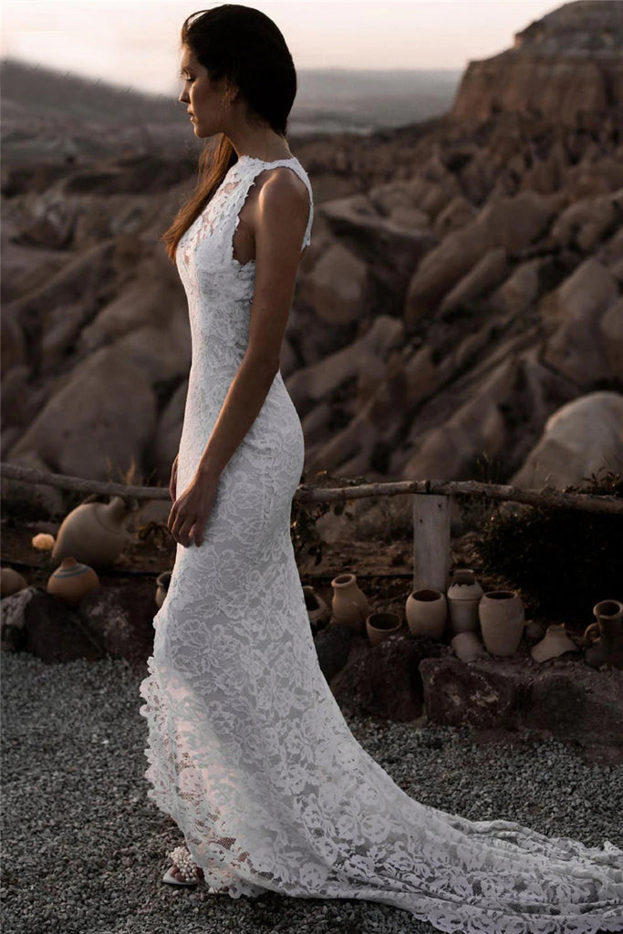 Mermaid Lace Beach Wedding Dress Backless Slit Sexy Bohemian Bridal Gowns OKV12