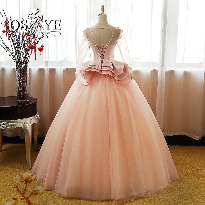 Vintage Flower Long Sleeves Puffy Tulle Long Prom Dress,Quinceanera Dresses OK608
