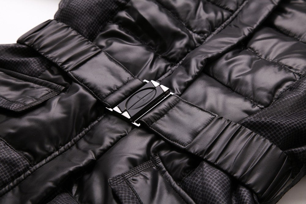 Simple Black Long Style High Quality  Fashion Design Winter Down Jackets D15