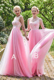 Elegant Pink Tulle A Line Long Bridesmaid Dress For Wedding OK766