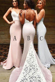 Sexy Spaghetti Straps Mermaid Backless Long Bridesmaid Dresses With White Lace OK934