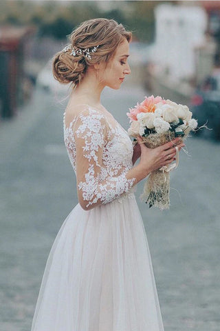 Simple Tulle Lace Applique Wedding Dresses 3/4 Long Sleeve Scalloped Floor-Length A-Line Bridal Dress OKW16