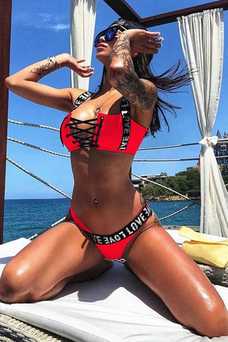 High Leg Metallic Letter Strap Lace Up Bikini Swimsuit SB107