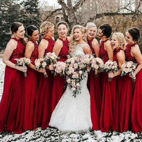 Cheap A-Line Formal Long Red Beading Bridesmaid Dresses OKG59