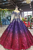 Ball Gown Long Sleeves Sequins Ombre Prom Dress, Pretty Quinceanera Dress OKQ45