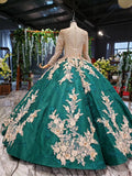 Long Sleeve Ball Gown Wedding Dress Appliques Beading Quinceanera Dresses OKR12
