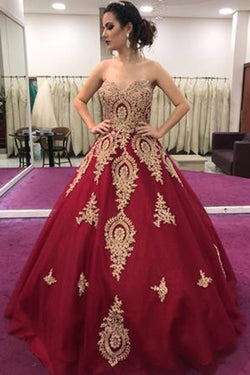 Gold Lace Appliques Sweetheart Ball Gown Prom Dress Sweet 16 Dress Quinceanera Dresses OKI59