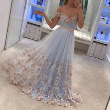 Light Blue Tulle Off The Shoulder Evening Gowns A Line Lace Appliques Prom Dress OK632