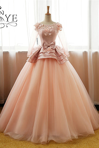 Vintage Prom Dresses,Pink Prom Dress,Flower Prom Dresses,Long Sleeves Prom Dress,Tulle Evening Dress,Ball Gown Prom Gown,Quinceanera Dresses