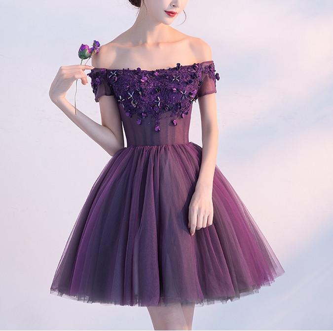 Cute A line Purple Homecoming Dresses,Off-shoulder Short Sexy Appliqued Prom Dress OK379
