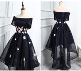 Ball Gown Off the Shoulder Appliqued Homecoming Dress,Chic Asymmetrical Short Prom Dress OK423