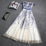 Beautiful Embroidery A-line Cap Sleeves Tulle Long Prom Dress Evening Dress OKT41
