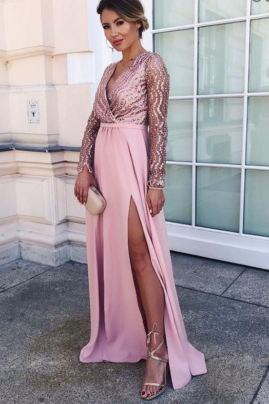 Long Sleeve A-line V-neck Floor-length Sequin Chic Long Prom Dress with Slit OKG24