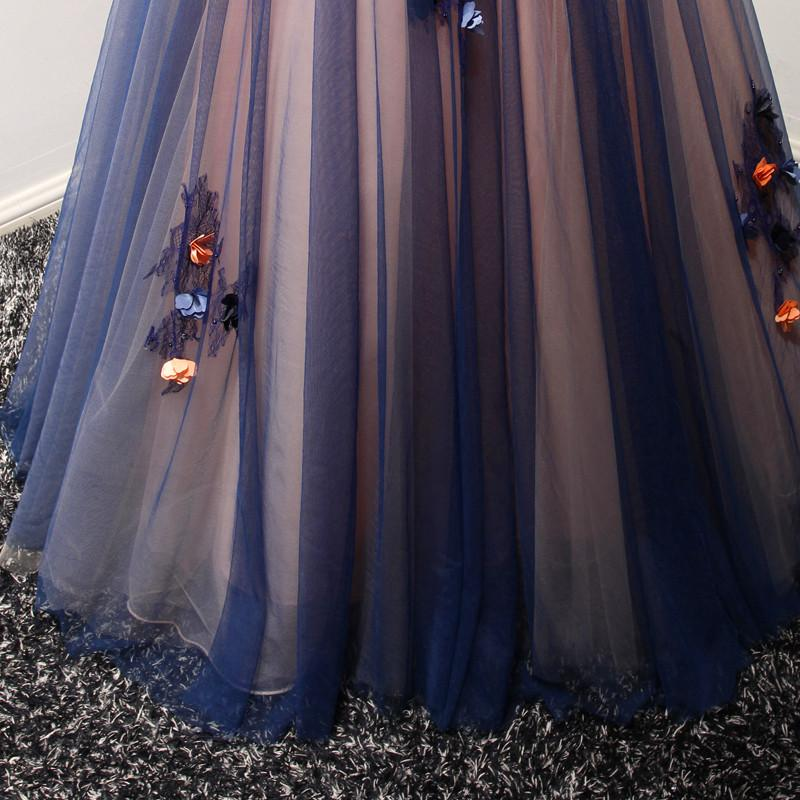 Beautiful V-neck Floor-length A Line Long Prom Dress With Flowers OK583