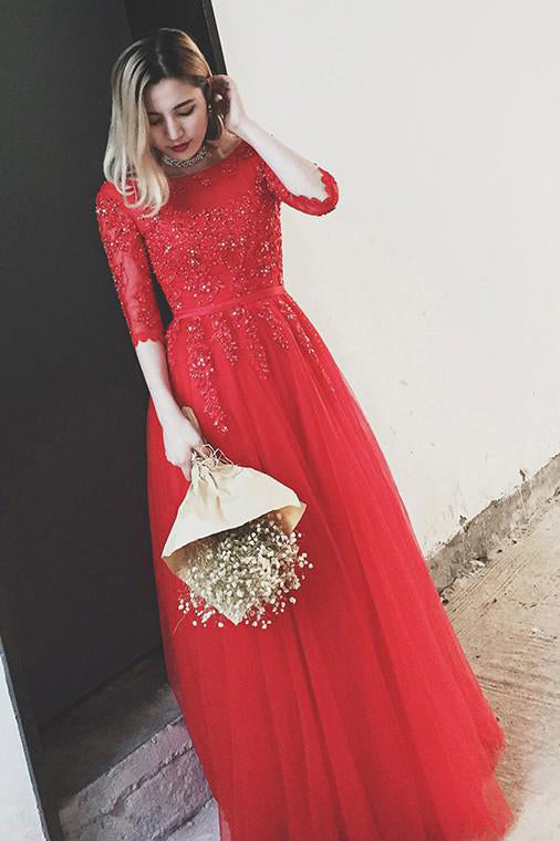 Red Bateau Floor-length Appliques Half Sleeves Long Prom Dress Evening Dress OKS49
