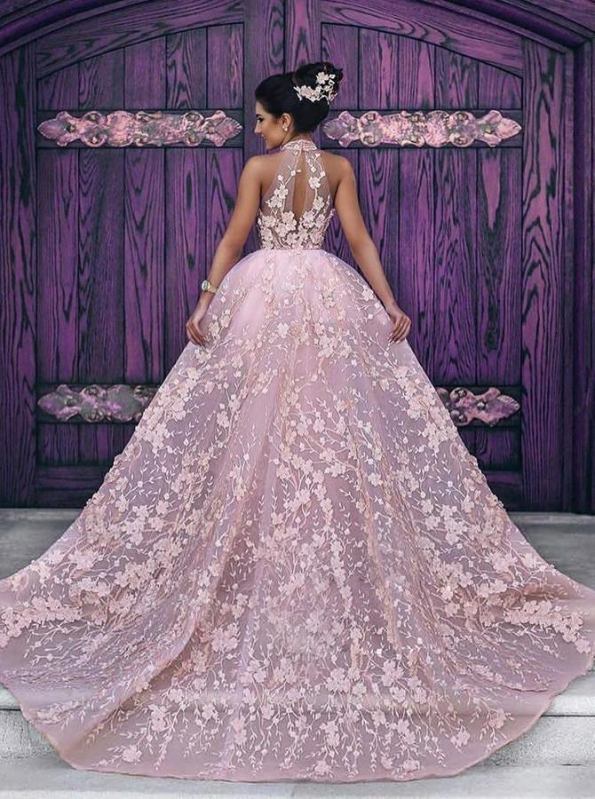 Luxury Pink Lace Wedding Dresses Halter Embroidery Slleveless Prom Dress Evening Dress OK486