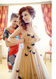 Beautiful Long Butterfly Sweetheart Ruffles Wedding Dresses Bridal Gown OK921