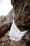 Ivory Long Lace Spaghetti Straps Sweep/Brush Train Beach Wedding Dress Bridal Gown OK922