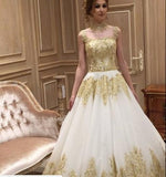 Beautiful Long Train High Neck Romantic Gold Appliques Wedding Dresses OKE96