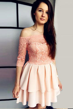 Off the Shoulder 3/4 Sleeves A Line Short Homecoming Dress with Lace OKE4
