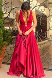 Sexy A-Line Backless Prom Dresses,Deep V-Neck Long Prom Evening Dress OK130