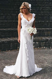 Simple Wedding Dress,White Wedding Dresses, V-neck Wedding Dresses,Chiffon Wedding Dresses,Ruffles Wedding Gown,Bridal Gowns