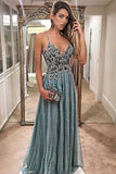 A-Line Prom Dresses,Spaghetti Straps Prom Gown,Lace Prom Dress,Beading Prom Dress