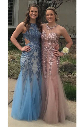 Charming Mermaid Long Tulle Sequin Appliques Prom Dresses OKD86