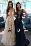 A Line Prom Dresses,V-neck Sexy Evening Party Dresses, Long Formal Dress OK186