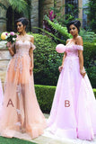 A-Line Off-the Shoulder Sleeveless Tulle Bridesmaid Dress with Appliques OK764