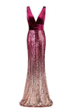 Mermaid Sequins Elegant Long Prom Dresses Formal Evening Dress XU90802