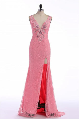 Charming Lace Mermaid Font Split Long V-neck Prom Dresses K103