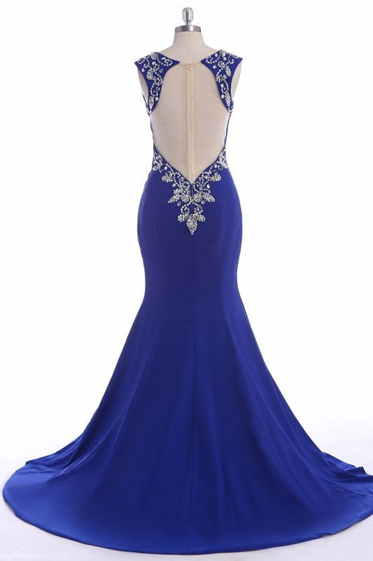 Free Shipping Long Royal Blue V-neck Zipper Back Prom Dresses K105