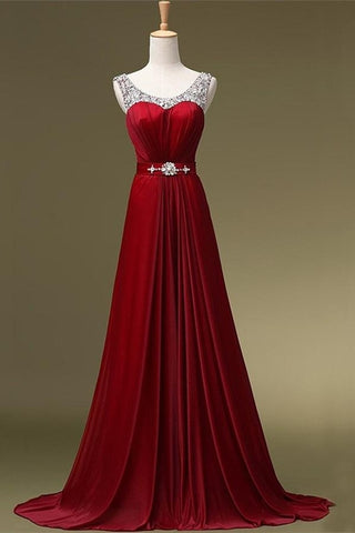 Simple Beading Long High Low A-line Charming Prom Dresses K106