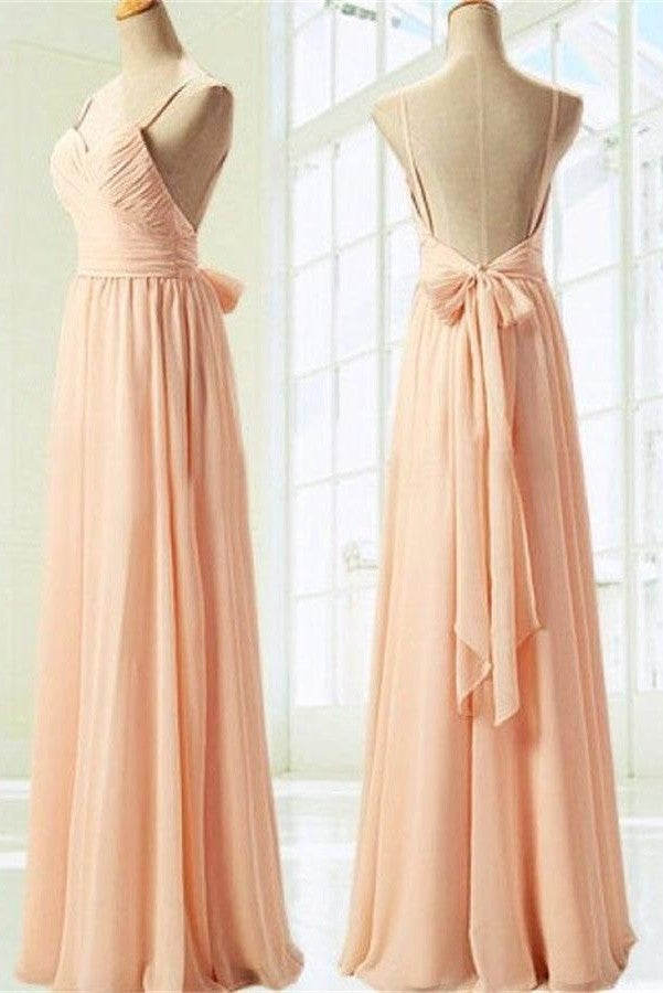 Simple Spaghetti Straps Long Chiffon Backless Bridesmaid Dresses with Bow K108